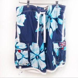 A&F Tugger Blue Hawaiian Board Shorts/Trunks Sz M